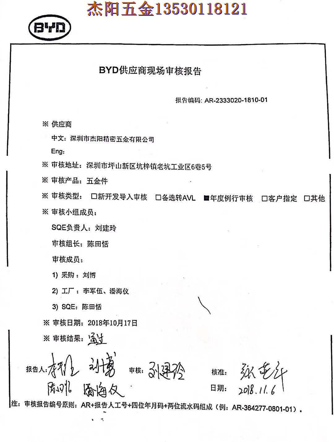比亚迪公司18年对杰阳公司审核报告